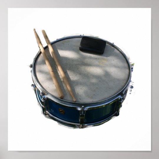 Blue Snare Drum Drumsticks and Muffler Poster