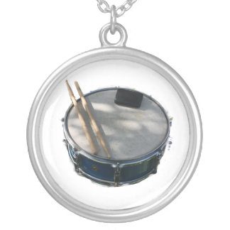 Blue Snare Drum Drumsticks and Muffler Round Pendant Necklace