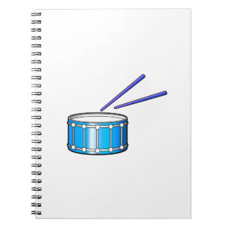blue snare graphic with sticks notebook