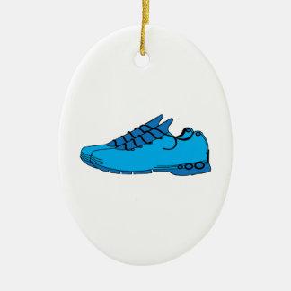 Blue Sneakers Ceramic Ornament