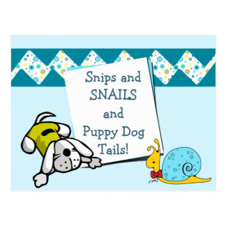 Blue Snips and Snails Birthday Announcement Postcard