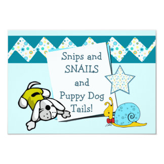 Blue Snips and Snails Birthday Party Card