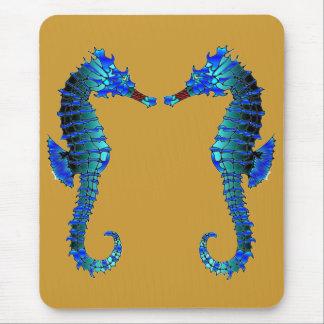 Blue Snout Sea Horses Mouse Pad