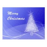 Blue snow christmas tree post card