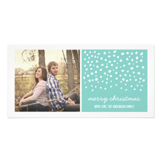 Blue Snow Fall Christmas Holiday Photo Cards