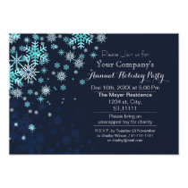 blue snow Festive Corporate holiday party Invite