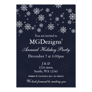 blue snow festive Corporate holiday party Invites
