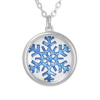 blue snow flake necklace