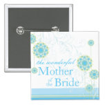 Blue Snow Flower Mother of Bride Wedding Button