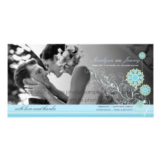 Blue Snow Flower Swirls Winter Wedding Thank You Photo Card
