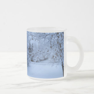 Blue snow frosted glass coffee mug