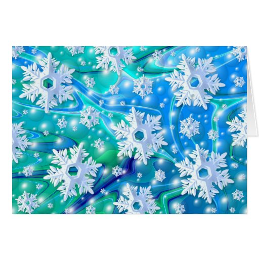 Blue Snow Greeting Cards