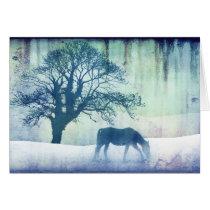 Blue Snow Horse Christmas Holiday Card