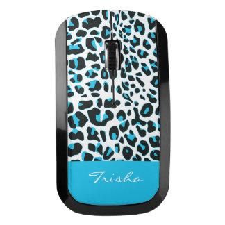 Blue Snow Leopard Pattern Wireless Mouse