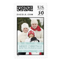 Blue Snow Merry Christmas Custom Name Photo Postage