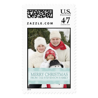 Blue Snow Merry Christmas Custom Name Photo Postage Stamp