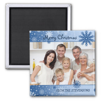 Blue Snow Merry Christmas Photo Magnet