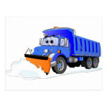 Blue Snow Plow Cartoon Dump Truck Postcard