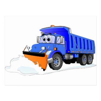 Blue Snow Plow Cartoon Dump Truck Postcard