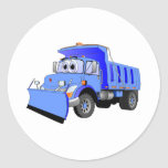 Blue Snow Plow Cartoon Sticker