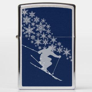 Blue Snow Ski Snowflake Zippo Lighter