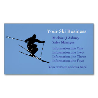 Blue Snow Skier Logo Magnetic Business Card