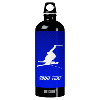 Blue Snow Skiing Aluminum Water Bottle