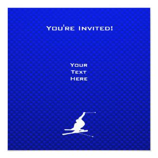 Blue Snow Skiing Card