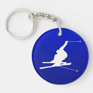 Blue Snow Skiing Keychain