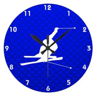 Blue Snow Skiing Large Clock