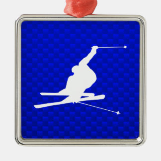 Blue Snow Skiing Metal Ornament
