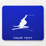 Blue Snow Skiing Mouse Pad
