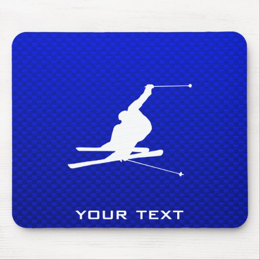 Blue Snow Skiing Mousepads