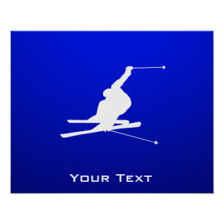 Blue Snow Skiing Poster