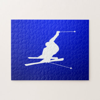 Blue Snow Skiing Jigsaw Puzzle