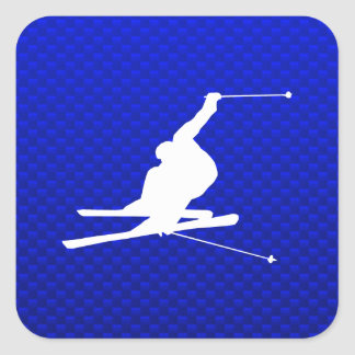 Blue Snow Skiing Square Sticker