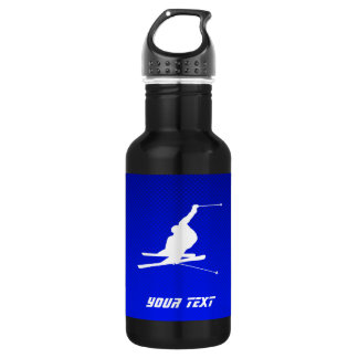 Blue Snow Skiing Water Bottle