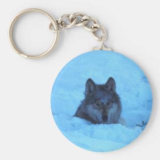 Blue Snow Timber Wolf Keychain