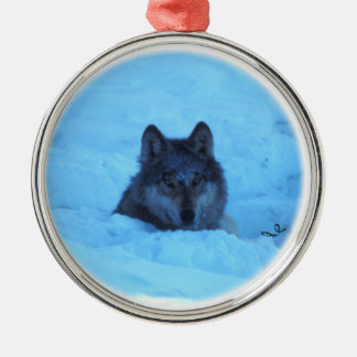 Blue Snow Timber Wolf Ornament