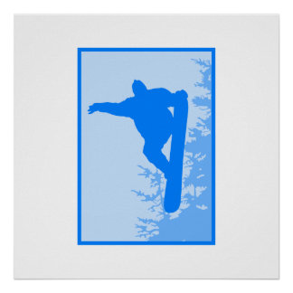 Blue Snowboard Logo Posters