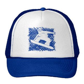 Blue snowboarder cross hatch art trucker hat