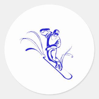 Blue Snowboarder Round Sticker