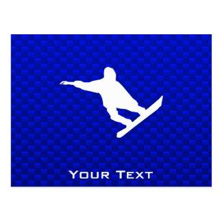 Blue Snowboarding Postcard