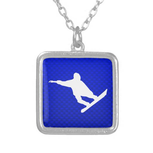 Blue Snowboarding Square Pendant Necklace
