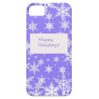 Blue Snowflakd Happy Holidays design iPhone 5 Case