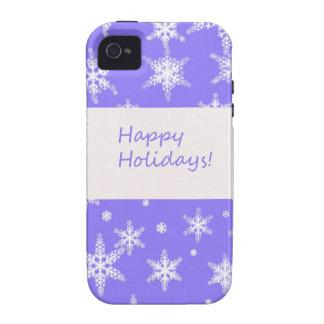 Blue Snowflakd Happy Holidays design iPhone 4/4S Case