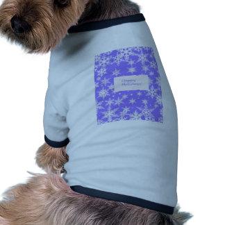 Blue Snowflakd Happy Holidays design Dog Tshirt