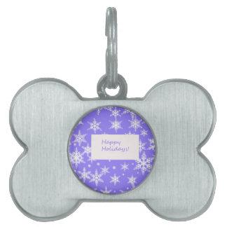 Blue Snowflakd Happy Holidays design Pet Tag