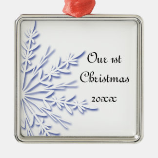 Blue Snowflake 1st Christmas Together Ornament