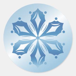 Blue Snowflake 2 Classic Round Sticker
